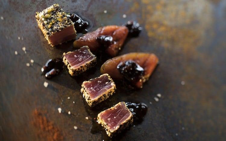 Barbecue geroosterde tonijn in sesam met gegrilde watermeloen van Walter Smoked!